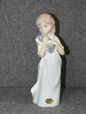 "Casades/ Spain ~ Porcelain8 ½""  Brown Haired Girl Figurine Holding Puppy~ EUC"
