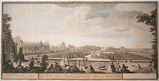 """Jacques Rigaud Antique Engraving """"Flower Garden of Palace Fontainebleau"""" 1730!"""