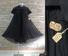 VINTAGE 60's NOS BLACK SILK TENT BABYDOLL COCKTAIL PARTY DRESS AUTHENTIC 1960's