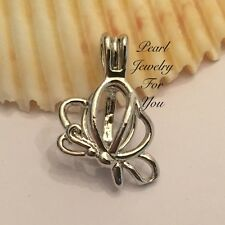 BUTTERFLY Wish Pearl Cage Silver Pendant for akoya oyster pearls or beads