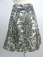 The Limited Womens Size 8 100% Cotton Ivory Black Floral A-Line Skirt