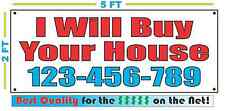 I WILL BUY YOUR HOUSE w Custom Phone # Banner Sign NEW Larger Size