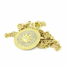 "Mens Medallion Marijuana Gold Clear 24"" Gucci Chain Pendant Necklace"