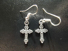 **  Very Pretty Tibetan Silver Small Shiny Cross Earrings   **  Retro 80's POP