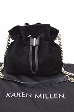 Karen Millen Black Suede Leather Drawstring Tote Chain Cross Body Shoulder Bag