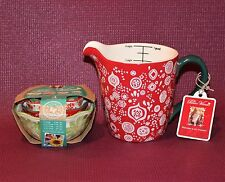 The Pioneer Woman Bandana Poinsettia 5-Piece Measuring Cup Set Ree Drummond NEW