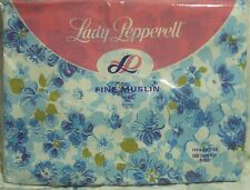 NEW! vtg Lady Pepperell TWIN FLAT Sheet 100% Cotton! floral 60s retro BLUE MCM