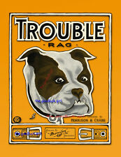 TROUBLE Bull Dog 8x10 Vintage sheet music cover Art print