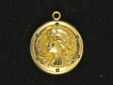 ANTIQUE VICTORIAN  FOSTER & BAILEY GOLD TONE LOCKET with DIAMONDS MONOGRAM