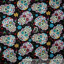 BonEful FABRIC FQ Cotton Quilt Rainbow B&W Flower Skull Head Girl Hippie Gothic