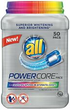 All POWERCORE Super Concentrated Laundry Detergent Pacs Plus Restores Whites and