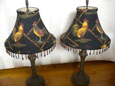 PAIR OF METAL FRENCH COUNTRY STYLE LAMPS WITH ROOSTER PATTERN SHADES