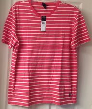 NWT, Men's Polo by Ralph Lauren tee shirt, stripes, size M, v neck, 100% cotton