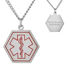 """HIGH BLOOD PRESSURE  Stainless Steel Medical Hexagon Shape Pendant,30""""Curb Chain"""
