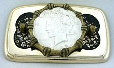 Gold Color Black Weave REAL 1922 Peace Silver Dollar Belt Buckle EPBB90