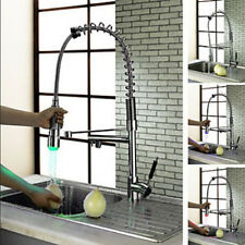 New LED Dual Swivel Spout Chrome Brass Kitchen Mixer Tap Pull Out Sink Mixer Tap
