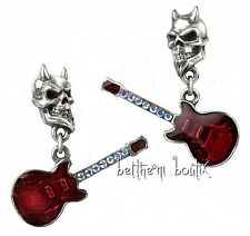 Goth Alchemy Boucles d' Oreille Guitare Tête de Mort The Devil's Gretch Gothique