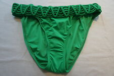 Hermanny By VIX Bikini Bottom Sz 6 Solid Green Braided Belt Swim Brief Pant