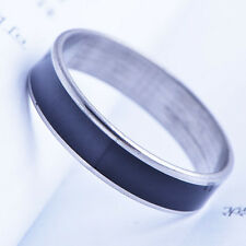 Cool White stainless steel Black Mens Womens Band Wedding Ring 10 Free Shipping
