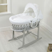 NEW 4BABY GREY WICKER / WHITE DIMPLE PADDED BABY MOSES BASKET & ROCKING STAND