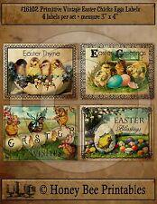 Primitive Vintage Easter Chicks Eggs Pantry Labels Set of 4 • #16102
