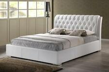 QUEEN OR KING MODERN WHITE FAUX LEATHER PLATFORM BED FRAME TUFTED HEADBOARD