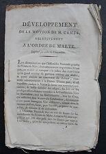Développement de la motion de M. CAMUS relativement à l'ORDRE DE MALTE. Imprimé