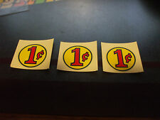 3 vintage n.o.s. Original vending machine 1 cent water slide decals