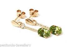 9ct Gold Peridot Drop Earrings Gift Boxed Made in UK