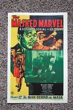 The Masked Marvel Lobby Card Movie Poster Man Behind the Mask