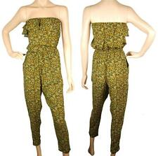 ConMiGo J215 off shoulder light yellow gold & light green floral print jumpsuit