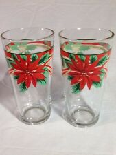 2 Vintage KIG GREEN RED Indonesia CHRISTMAS DRINKING GLASS Poinsettia Bow