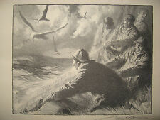 "Gordon Grant Signed '37 Fishing Litho ""Hauling in the Nets"" Listed Marine Artist"