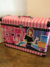 Girls Glamour Girlz Fashion Boutique Doll Case Suitcase Travel Pink Stripes