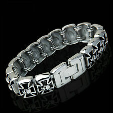 "8"" Gothic Men's German Knight Iron Cross Pattée Skull Stainless Steel Bracelet"