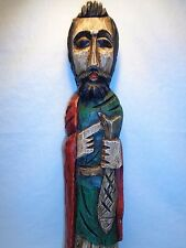 ANTIQUE CARVED WOOD RELIGIOUS SANTOS SAINT STATUE WALL ART SPANISH MODERNIST
