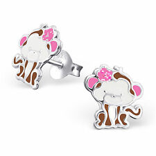 Childrens Girls 925 Sterling Silver CUTE MONKEY Stud earrings boxed