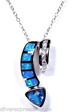 """18"""" Italy Necklace 925 Sterling Silver Blue Topaz & Blue Fire Opal Inlay Pendant"""
