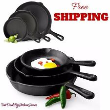 3 Piece Cast Iron Skillet Cookware Fry Pans Set PreSeasoned Oven Pots Stove New