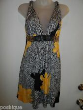 Sky Clothing Brand S Dress Gold Chain Black Leather Yellow White Floral Spring