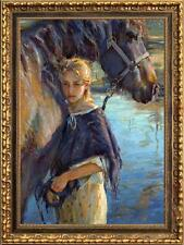 """Original Oil Painting Portrait Small girl and horse on canvas 24""""x36"""""""