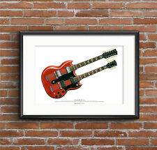 Jimmy Page's Gibson EDS-1275 guitar ART POSTER A2 size
