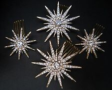 SET OF 4 GOLD STAR SNOWFLAKE CRYSTAL HAIR COMB SLIDE - BRIDAL WEDD7NG EVENING
