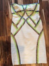 Herve Leger Dress, Off White, Lime Green and Metallic Bandage Sz L