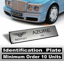 1/18 Bentley Azure Flying Spur Corniche Eight Mulsanne & every model - Id. Plate