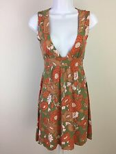 URBAN OUTFITTERS Lux Green Orange Floral Summer Skater Dress Size XS 281