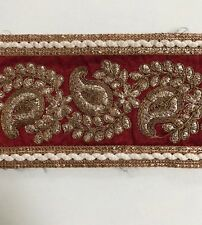 ATTRACTIVE INDIAN MAROON GOLD PAISLEY EMBROIDERY SILKY FABRIC TRIM/LACE-One MTR