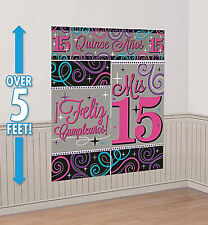 Mis Quince Quinceanera Scene Setter Feliz Compleaños party wall decoration 15