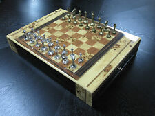 17.5 In Lacquer Wood Chess Checkers Set Drawers Metal Pewter Game Pieces Classy