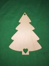 10 CHRISTMAS TREE with heart  WOODEN SHAPES HANGING TAGS CRAFT EMBELLISHMENTS